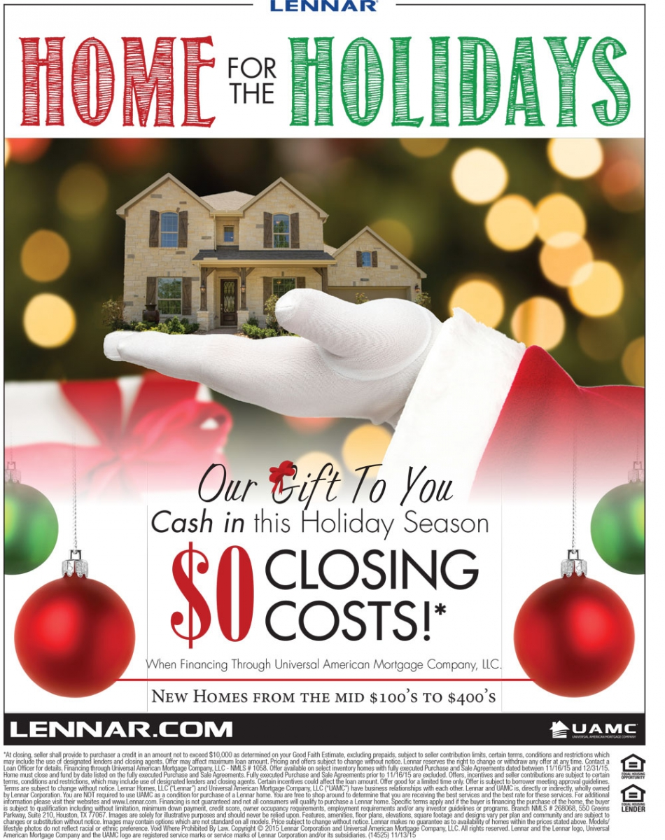 Home for the Holidays Promotion from Lennar Homes 2015